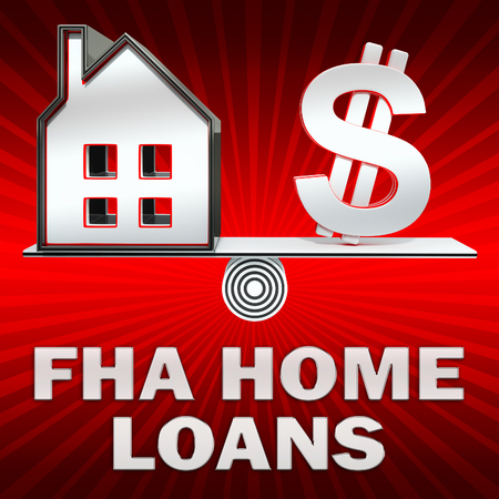 loaning: FHA Home Loans Dollar Sign Displays Federal Housing Administration 3d Rendering
