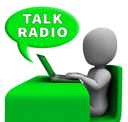 Talk Radio Man With Laptop Showing Media Broadcast 3d Rendering Stock Photo