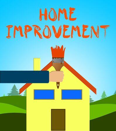 Home Improvement Paintbrush Means House Renovation 3d Illustration