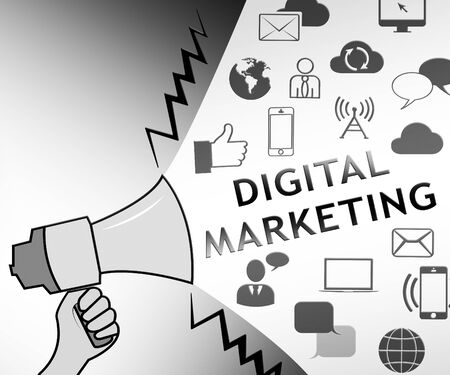 Digital Marketing Icons Representing Market Promotions 3d Illustration Banco de Imagens