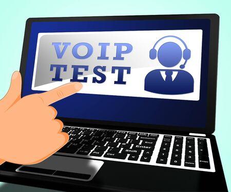 Voip Test Laptop Shows Internet Voice 3d Illustration Reklamní fotografie