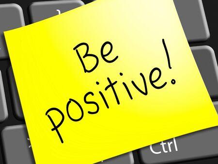 注は、楽観主義者の考え方を表す肯定的 3 d イラストレーション 写真素材 - 77522649