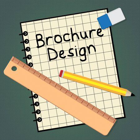 Brochure Design Notebook Representing Designing Flyer 3d Illustration
