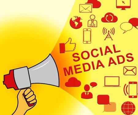Social Media Ads Icons Representing Online Marketing 3d Illustration