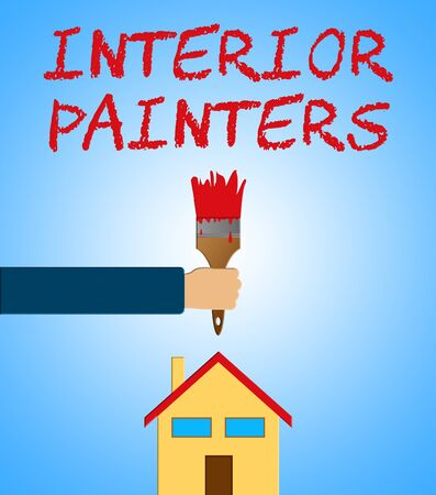Interior Painters Paintbrush Shows Home Painting 3d Illustration