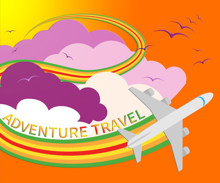 Adventure Travel Plane Means Exciting Holiday 3d Illustration Stock Photo