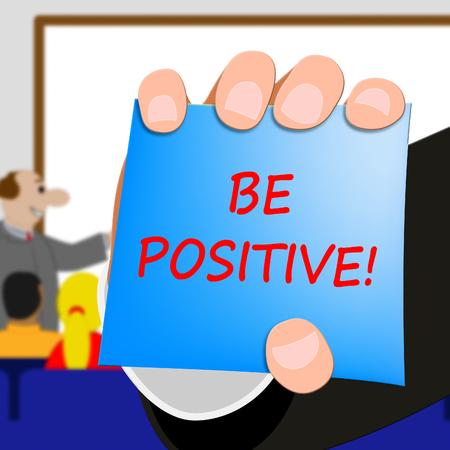肯定的な楽観主義の考え方を 3 d 表示する図 写真素材
