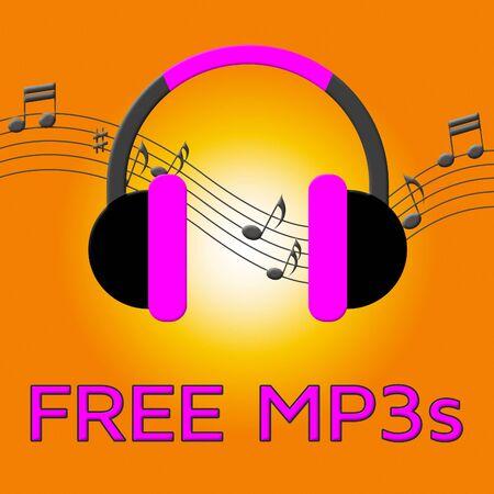 Free Mp3s Earphones Denotes Download Soundtracks 3d Illustration Stock Photo