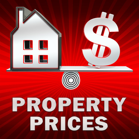 Property Prices Dollar Sign Displays House Cost 3d Illustration