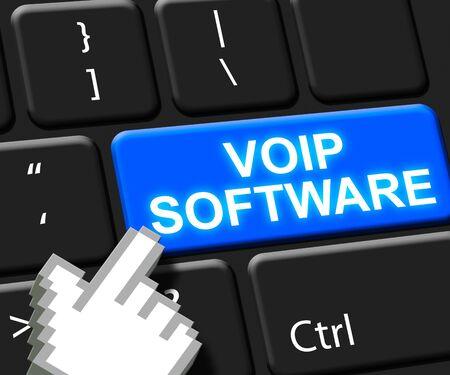 Voip Software Key Showing Internet Voice 3d Illustration Reklamní fotografie