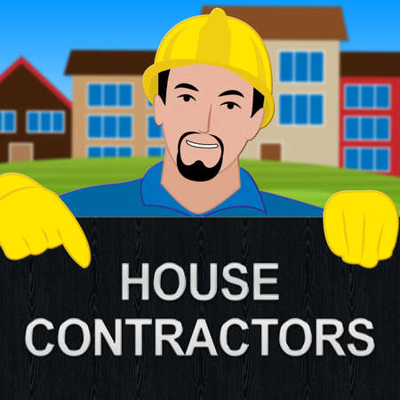 House Contractors Sign Showing Home Builders 3d Illustration Stock Photo