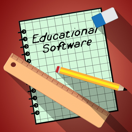 shareware: Educational Software Notebook Represents Learning Application 3d Illustration