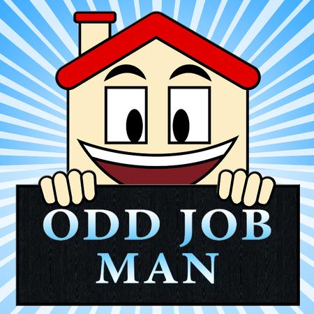 Odd Job Man Showing House Repair 3d Illustration Stock Photo