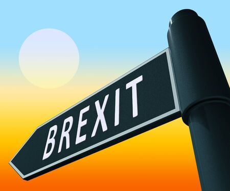 Brexit Road Sign Showing Britain Remain Leave 3d Illustration