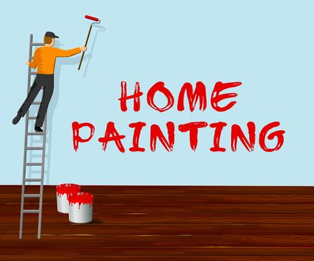 Home Painting Showing House Painter 3d Illustration