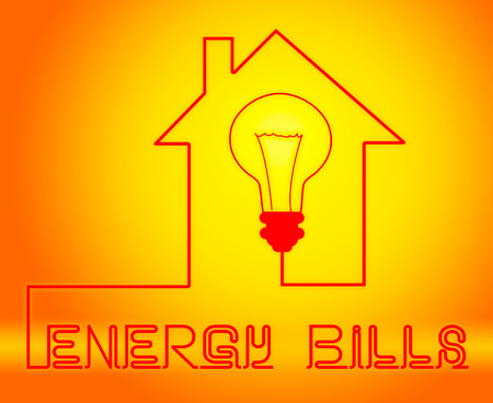 payable: Energy Bills Shows Electric Power 3d Illustration