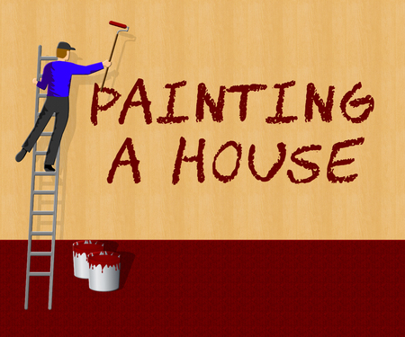 Painting House Showing Home Paint 3d Illustration Stock Photo