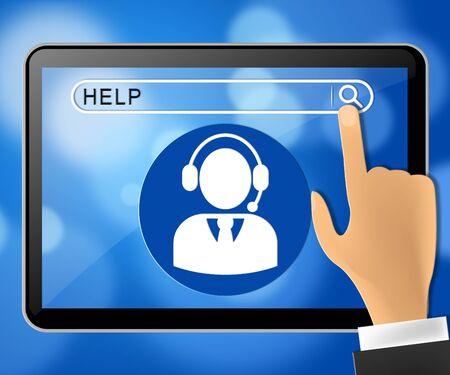Help Tablet Representing World Wide Web 3d Rendering