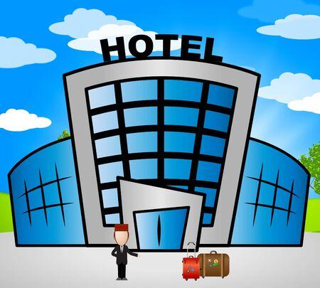 accomodation: Hotel Lodging Showing Holiday Accomodation 3d Illustration