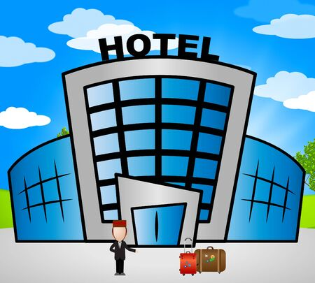 Hotel Lodging Showing Holiday Accomodation 3d Illustration