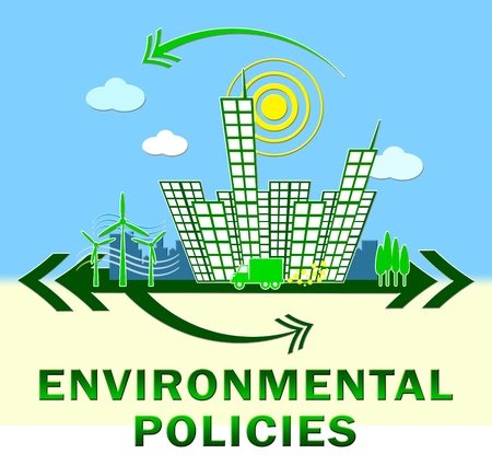 environmental policy: Environmantal Policies Town Showing Environment Guide 3d Illustration Stock Photo