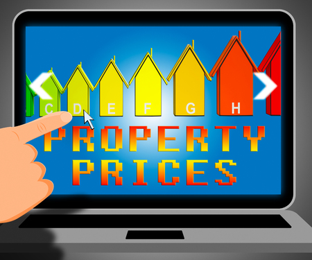 Property Prices Laptop Representing House Cost 3d Illustration
