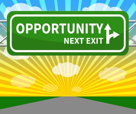opportunity: Opportunity Sign Shows Business Possibilities 3d Illustration