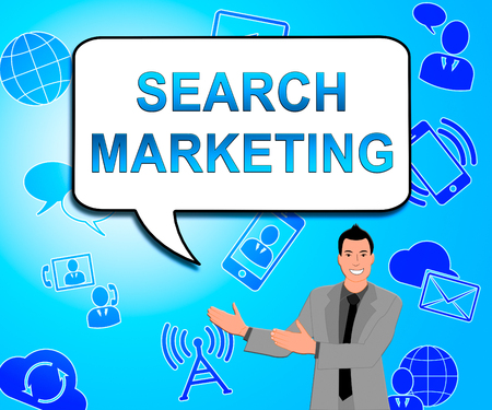 Search Marketing Icons Showing Seo Engines 3d Illustration Stock Photo