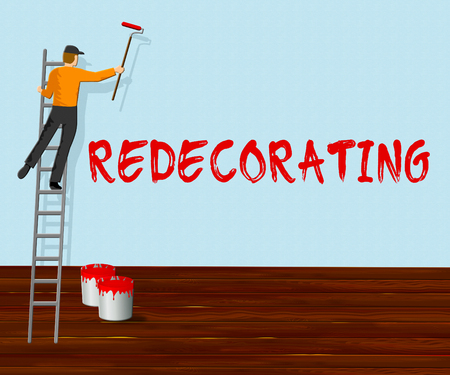 redecorating: Home Redecorating Showing House Painting 3d Illustration Stock Photo