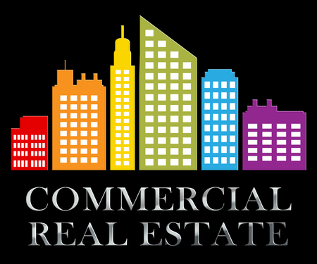 Commercial Real Estate Skyscrapers Means Properties Sale 3d Illustration