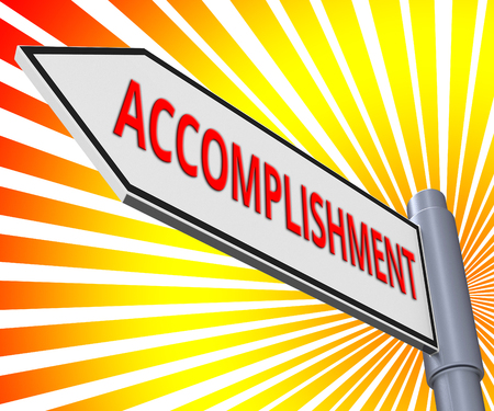 Accomplishment Road Sign Meaning Success Progress 3d Illustration