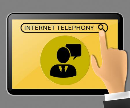 Internet Telephony Tablet Representing Voice Broadband 3d Illustration