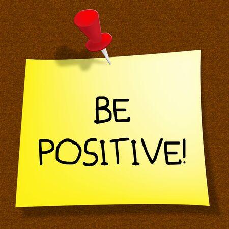 楽観主義者の考え方を 3 d 表示肯定的なメッセージが表示される図 写真素材