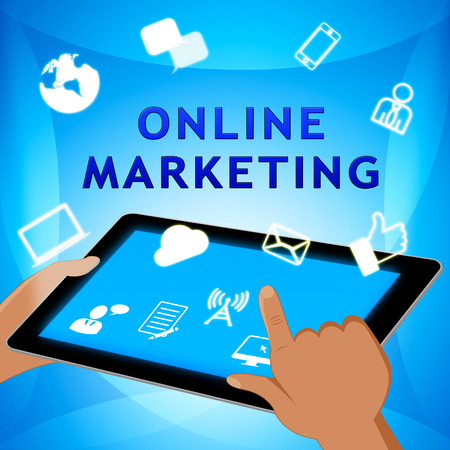 Online Marketing Showing Market Promotions 3d Illustration