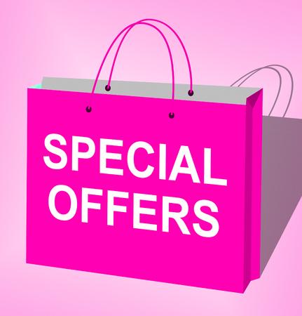 online specials: Special Offers Bag Represents Big Reductions 3d Illustration Stock Photo