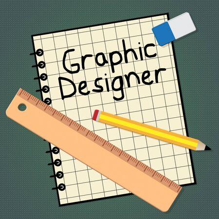 Grafisch ontwerper notitieboekje vertegenwoordigt het ontwerpen van 3D-illustratie van de baan