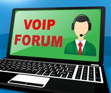 Voip Forum Laptop Showing Internet Voice 3d Illustration Reklamní fotografie
