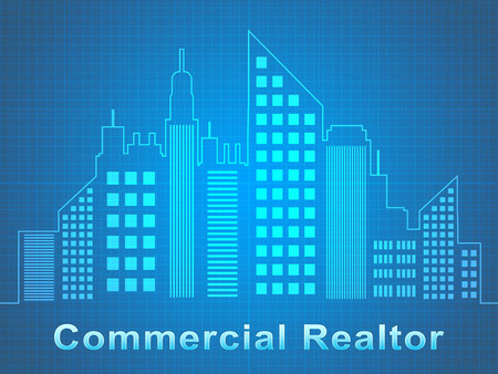 Commercial Realtor Skyscrapers Represents Real Estate Offices 3d Illustration Stock Photo