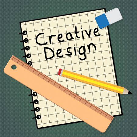 Creative Design Notebook Represents Graphic Innovation 3d Illustration