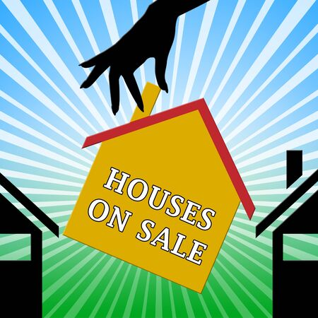 house for sale: Houses On Sale Hand Meaning Sell House 3d Illustration
