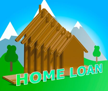 loaning: Home Loan Houses Means Fund Homes 3d Illustration Stock Photo