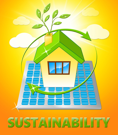 sustained: Sustainability House Displaying Eco Recycling 3d Illustration Stock Photo