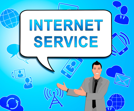 Internet Service Icons Showing Broadband Provision 3d Illustration
