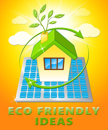 Eco Friendly Ideas House Displays Green Concepts 3d Illustration