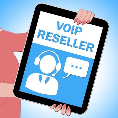 Voip Reseller Tablet Shows Internet Voice 3d Illustration Reklamní fotografie