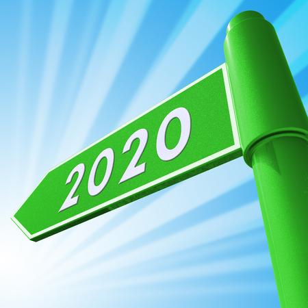 Two Thosand Twenty Road Sign Displaying 2020 3d Illustration