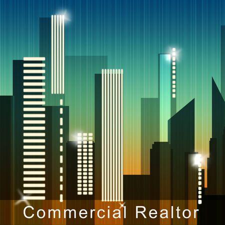 Commercial Realtor Skyscrapers Means Real Estate Sale 3d Illustration