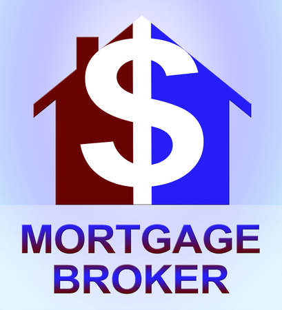 middleman: Mortgage Broker Dollar Icon Means Home Loan 3d Illustration Stock Photo