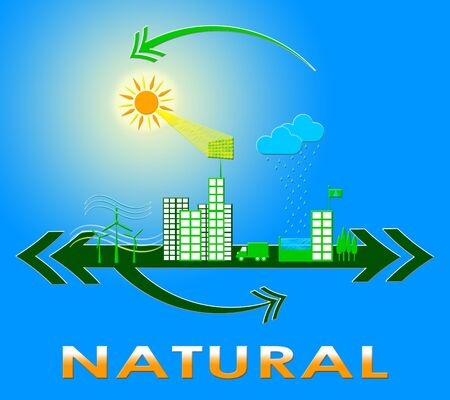 Natural Town Indicates Organic Healthy And Pure 3d Illustration