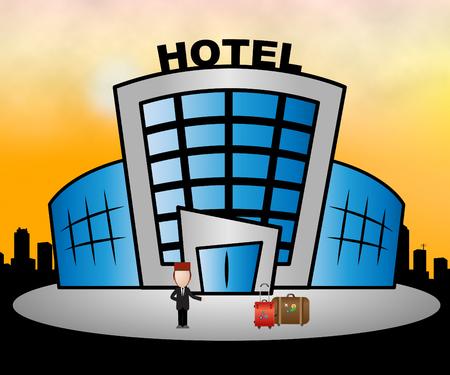 accomodation: Hotel Resort Building Means City Accomodation 3d Illustration